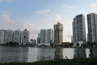 Bocagrande Skyline with Lagoon Cartagena Colombia
