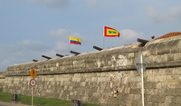 Cartagena Old City Walls and Cannons Colombia Flag.png