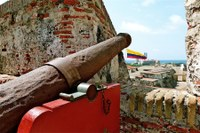 Cannons at Castillo de San Felipe Barajas Cartagena Colombia