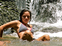Beautiful Colombian Girl at Quebrada Valencia Waterfalls Near Santa Marta Colombia